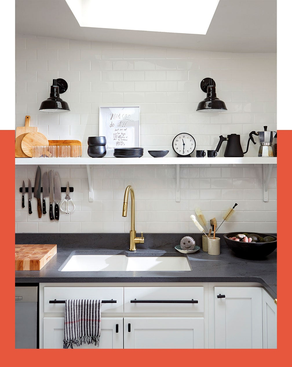 an open shelf in a kitchen