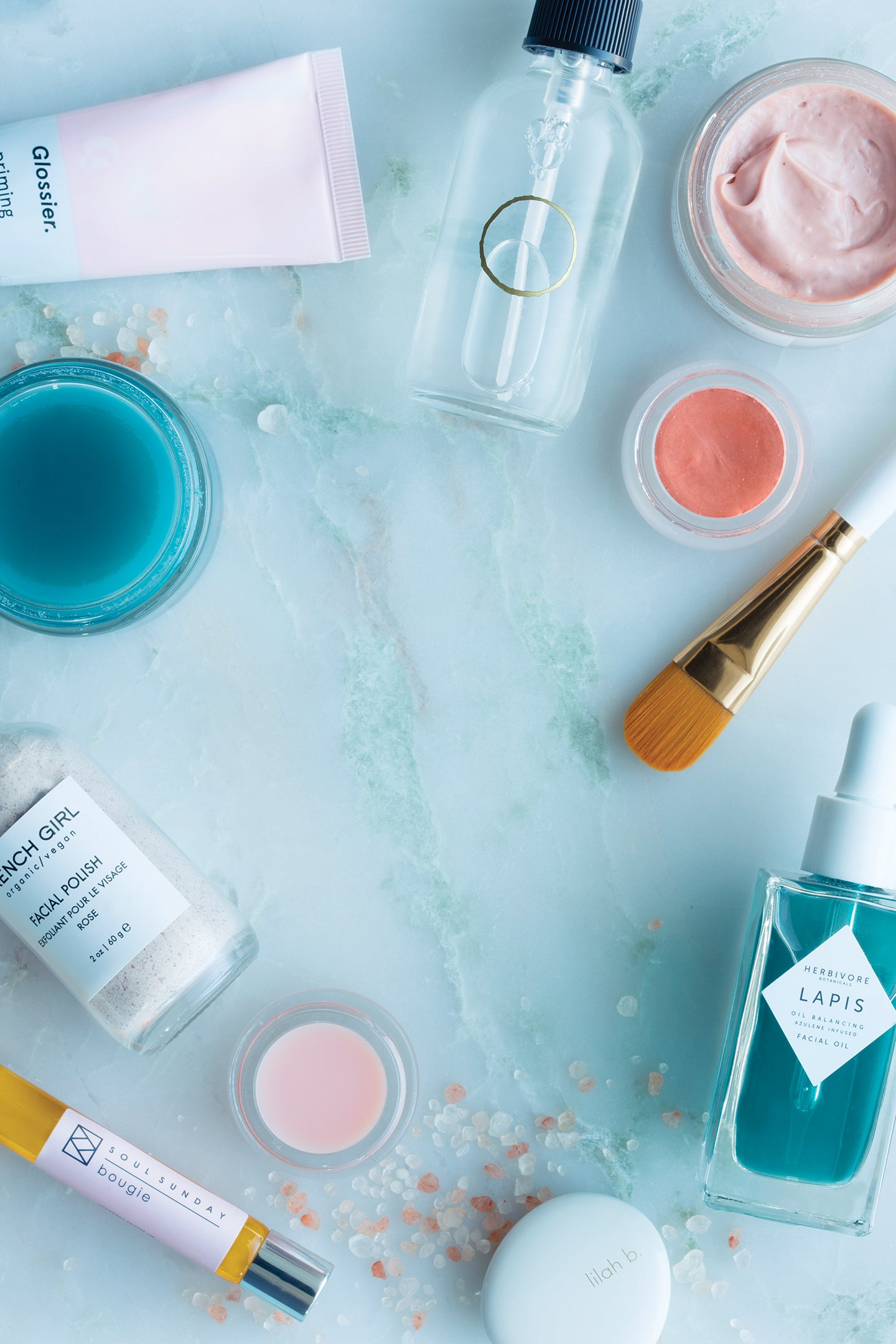 beauty products overhead