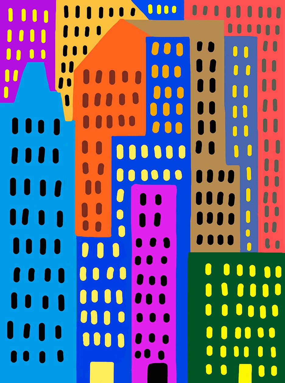 Child's drawing of colorful skyscrapers in the city