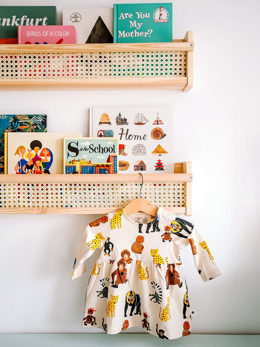 Rattan kids' book shelf with dress hanging from hook.