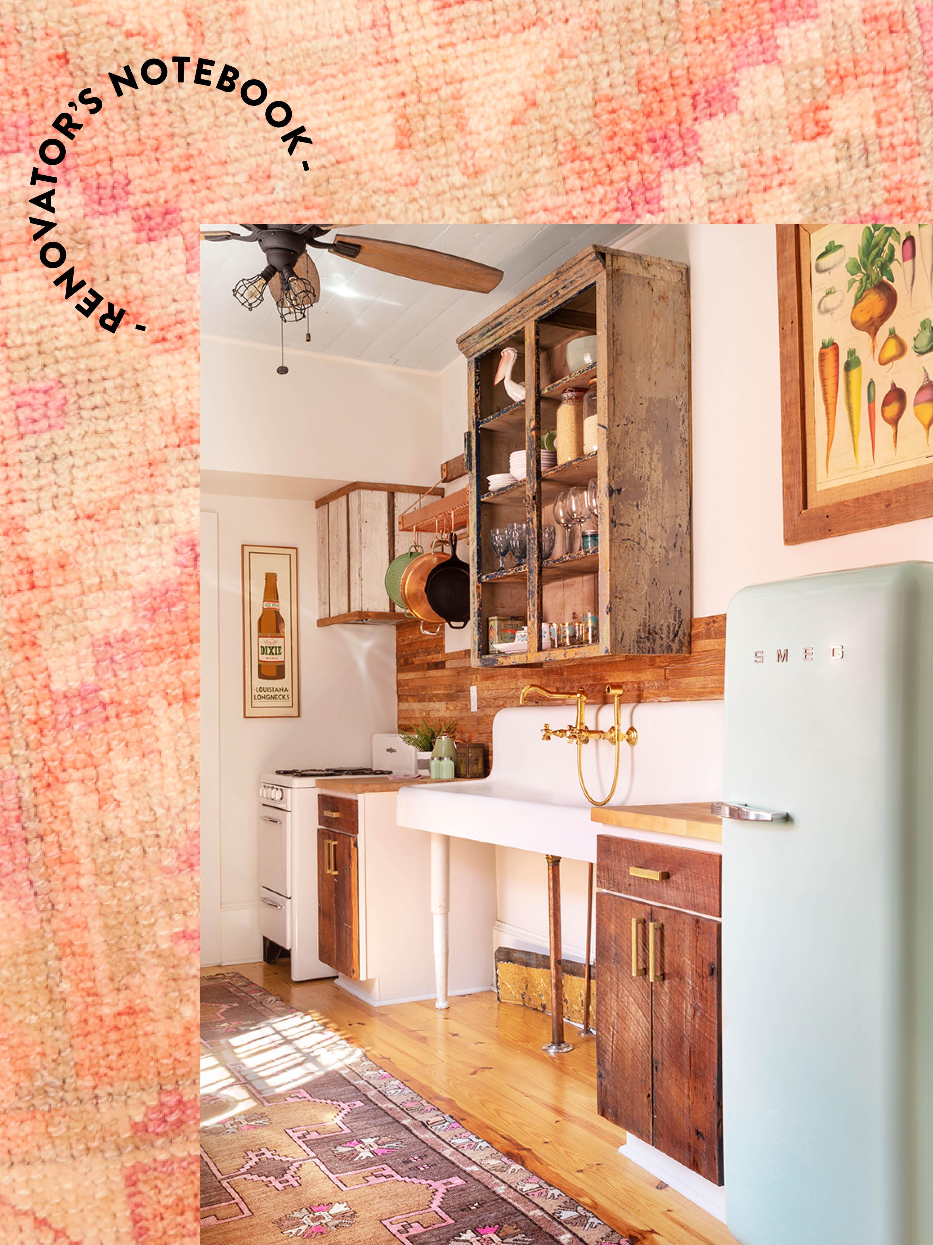 vintage kitchen with Smeg fridge