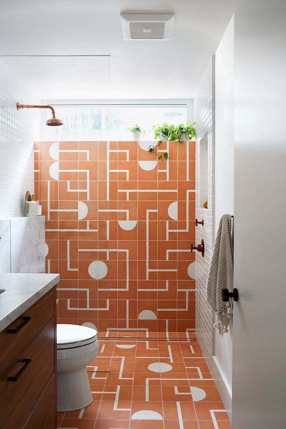 pink and white shower tiles