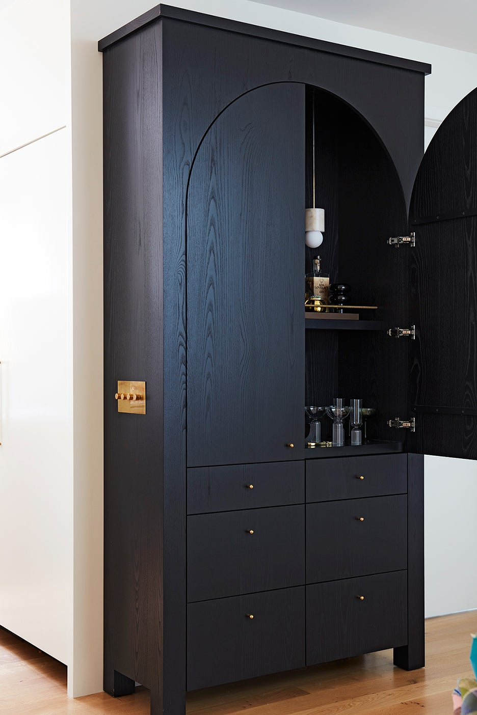 arched bar cabinet