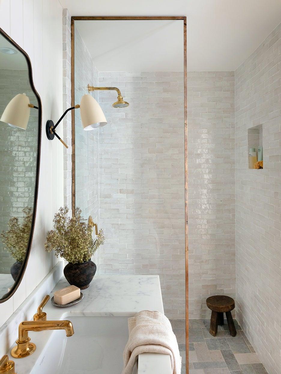 neutral bathroom with single vanity