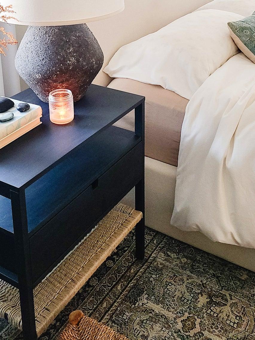 black and hemp nightstand