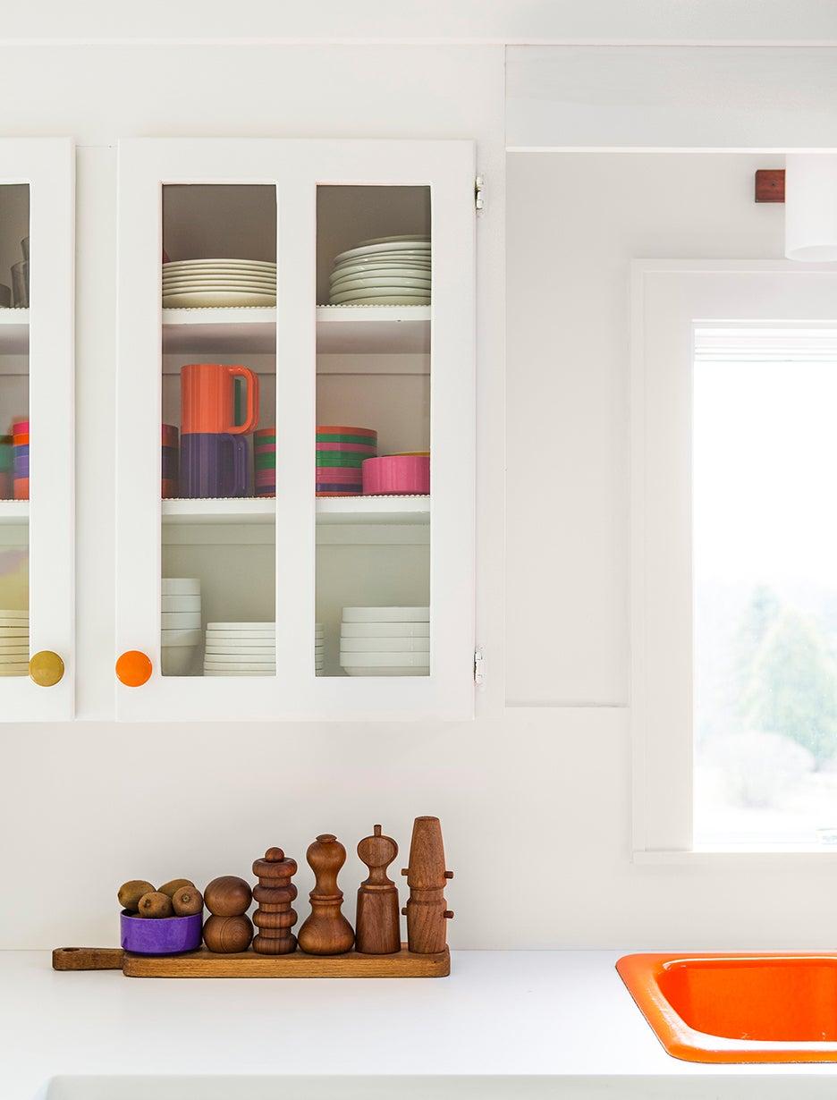 a kitchen cabinet