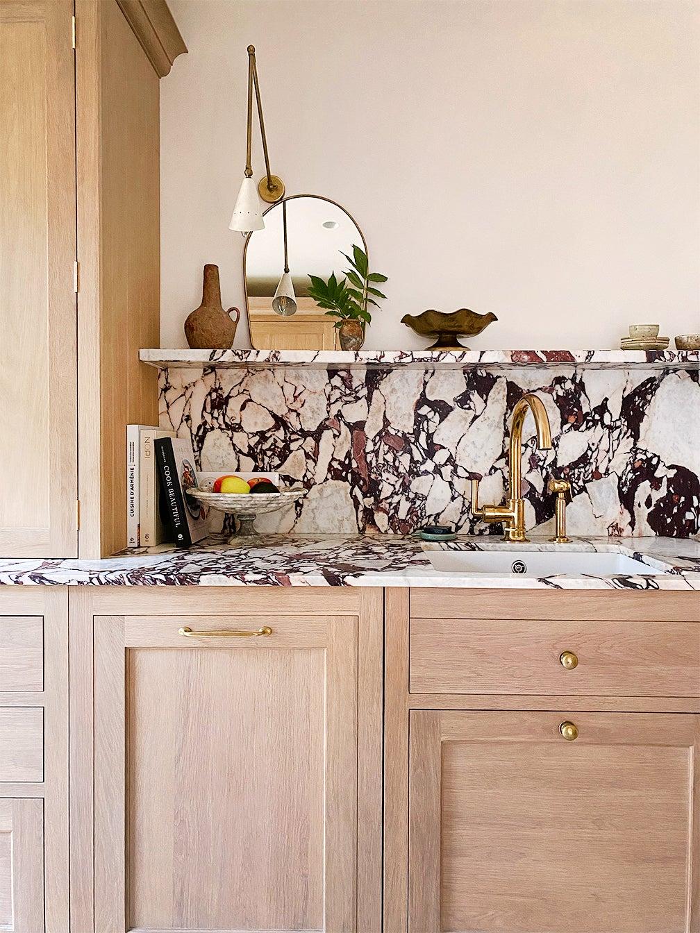 Purple marble backsplash in kitchen