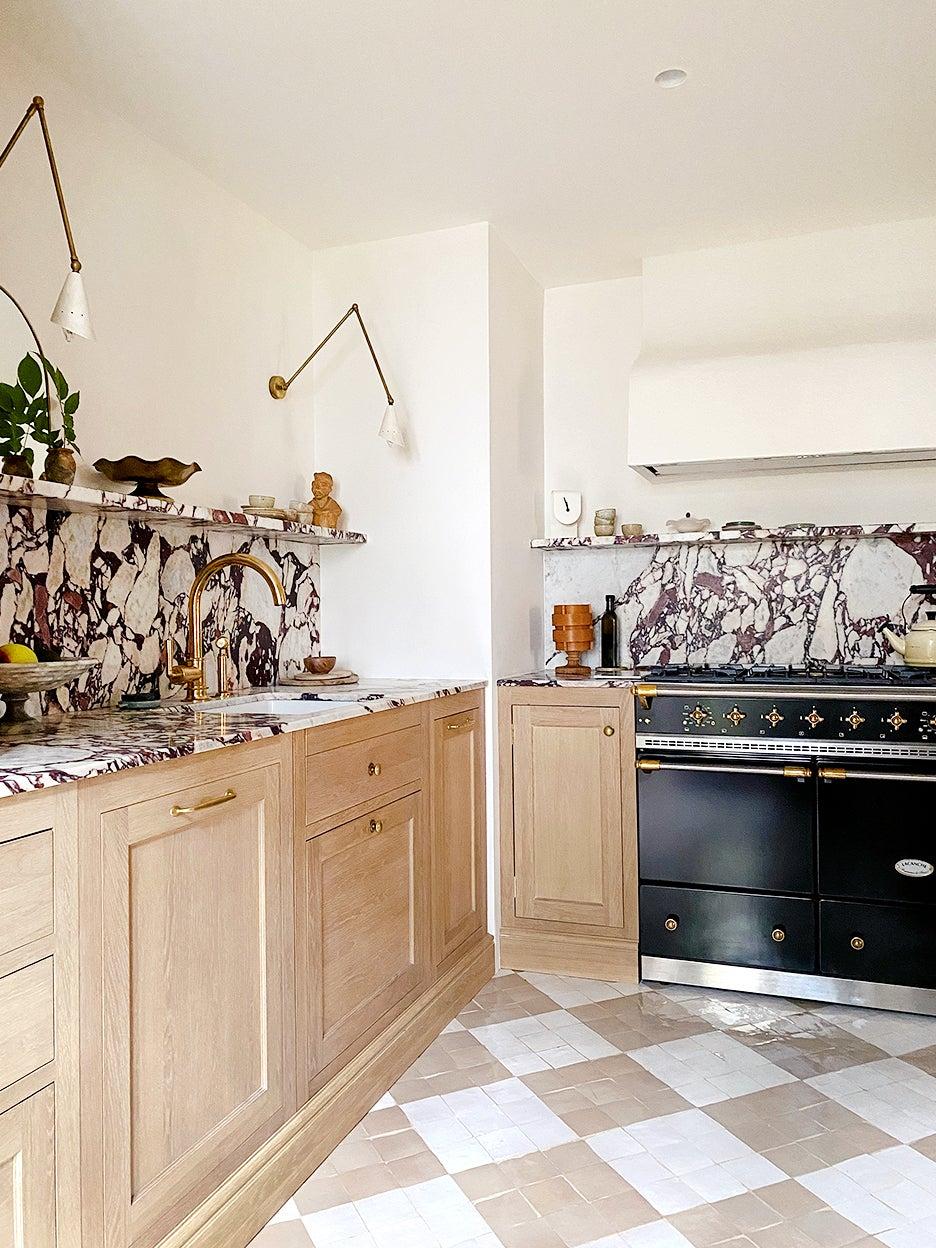 Checkered zellige tile in kitchen