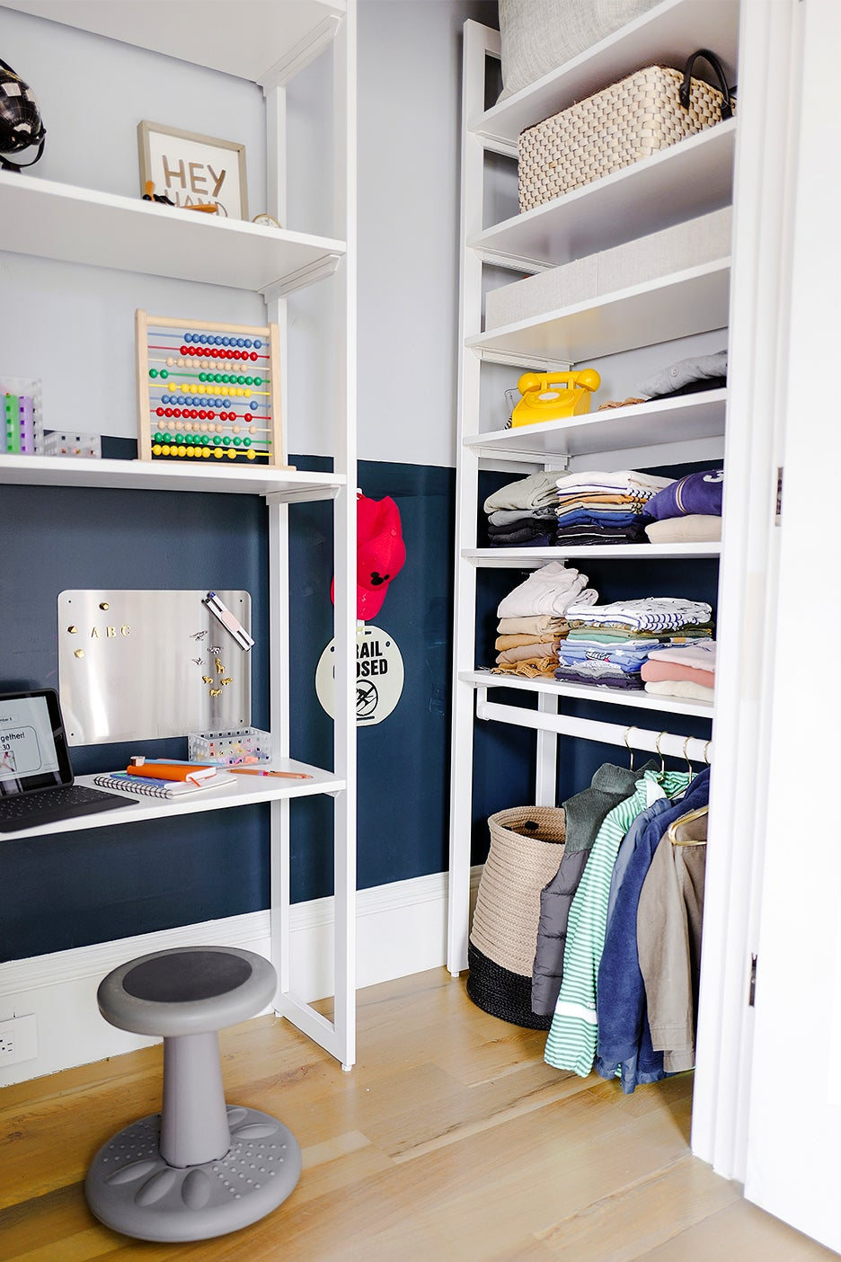 tall shelving units in a closet