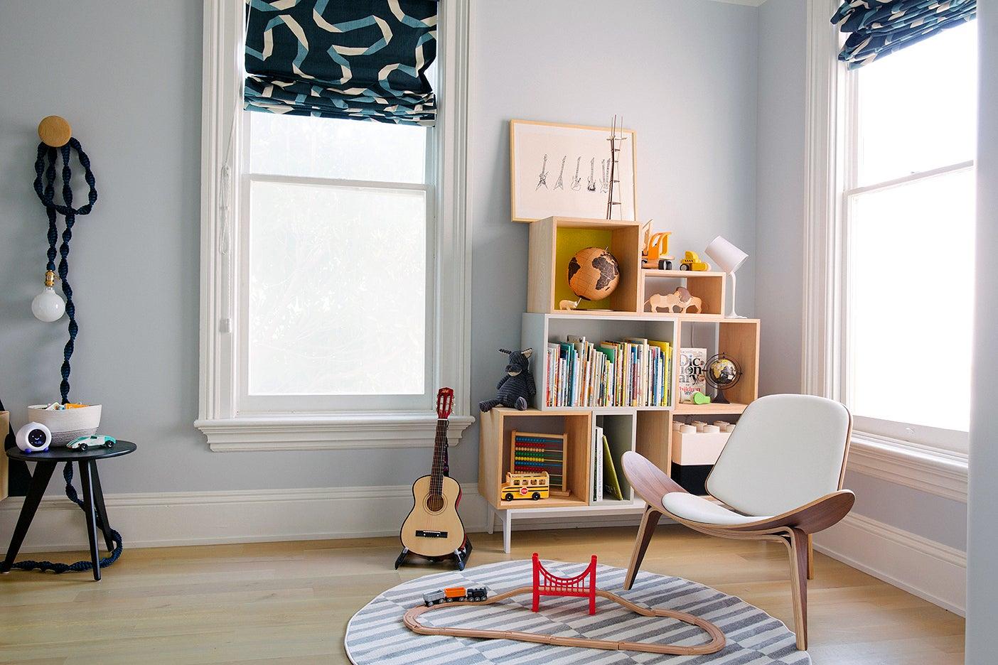 modern boys bedroom reading nook