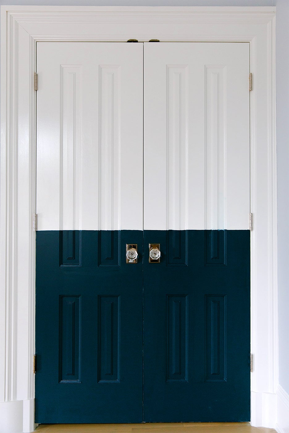 doors painted white and navy