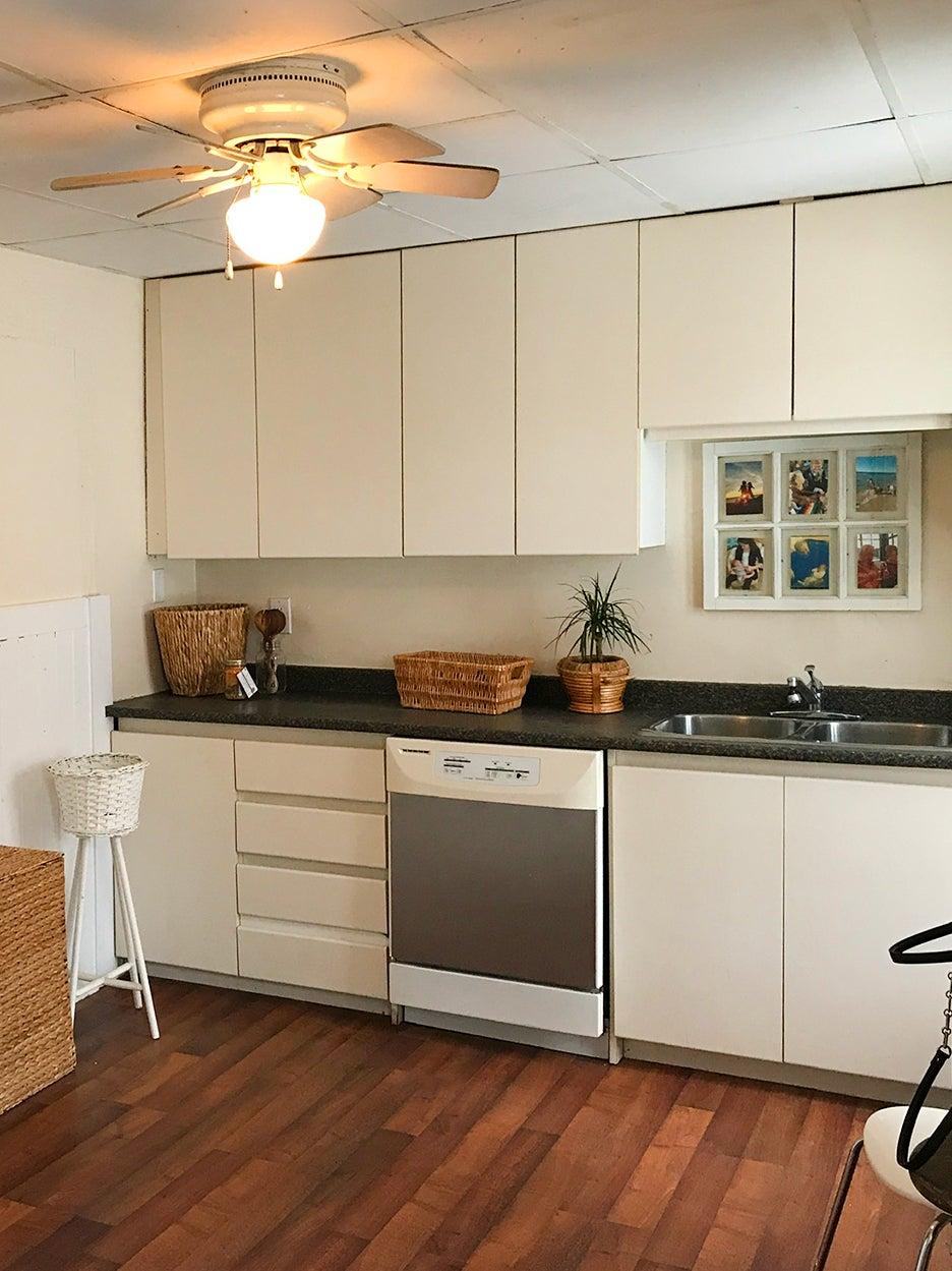 drab white kitchen