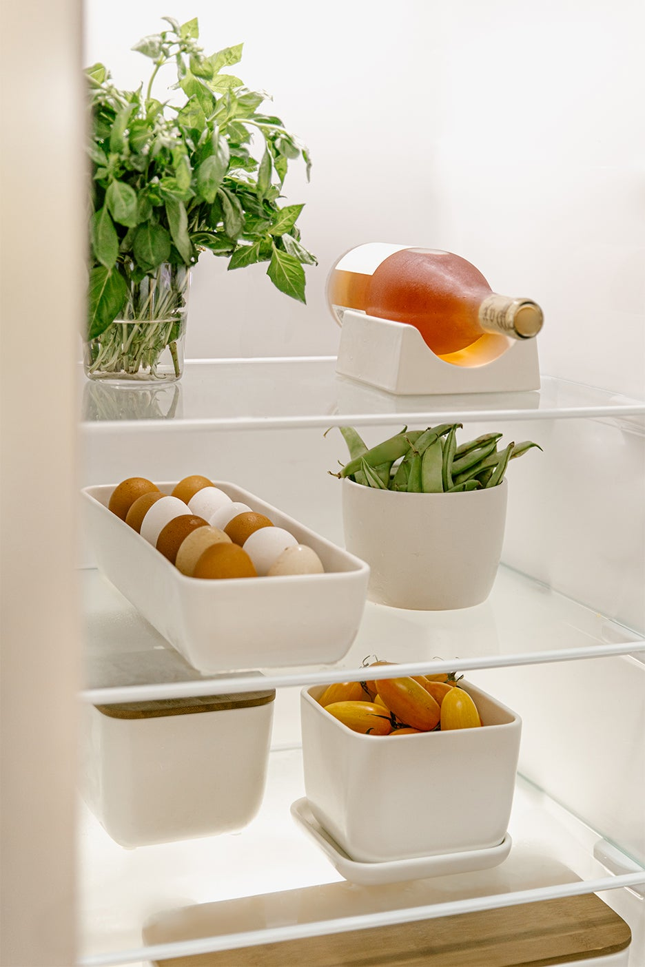 containers in a fridge