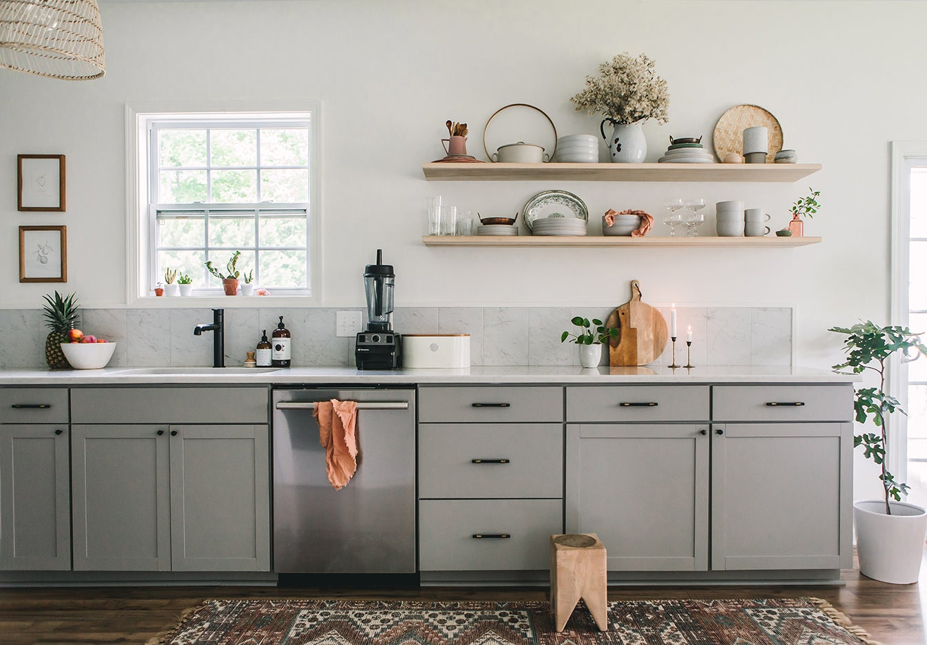 gray long kitchen cabinets
