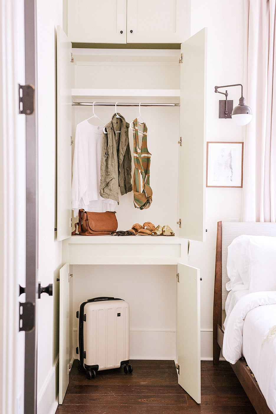 closet desk built in next to bed