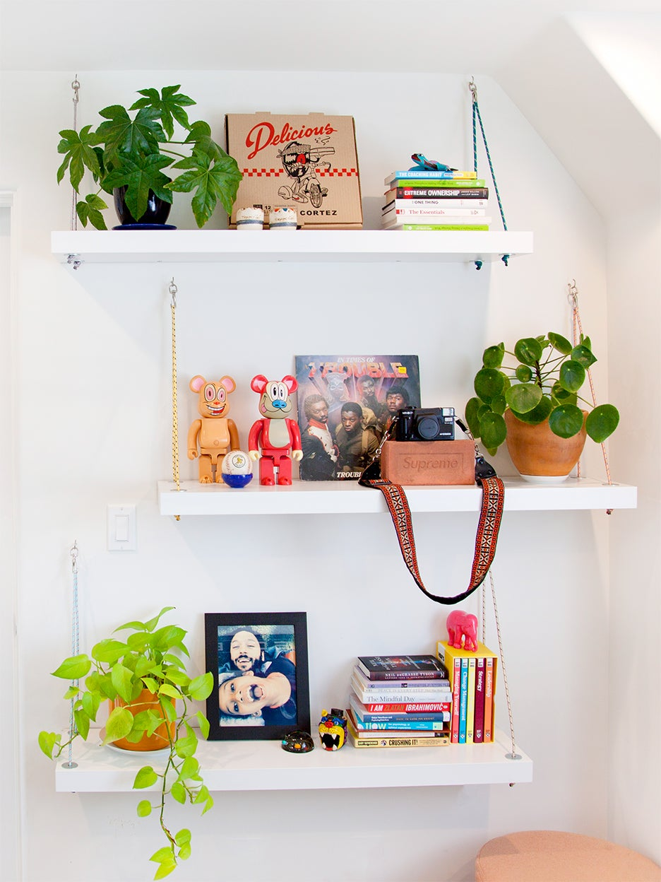 floating shelves topped with plants