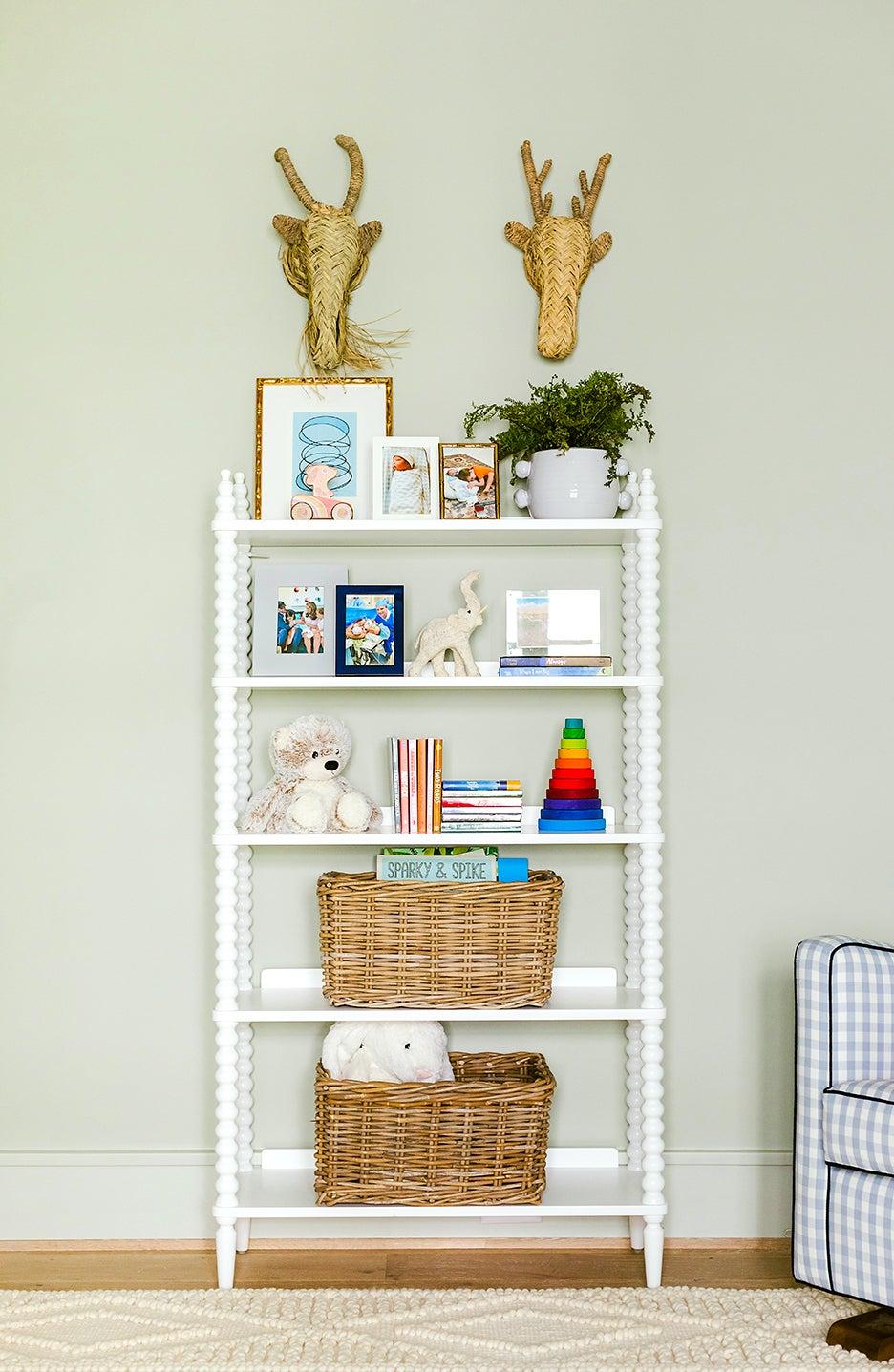 a bookshelf in a nursery