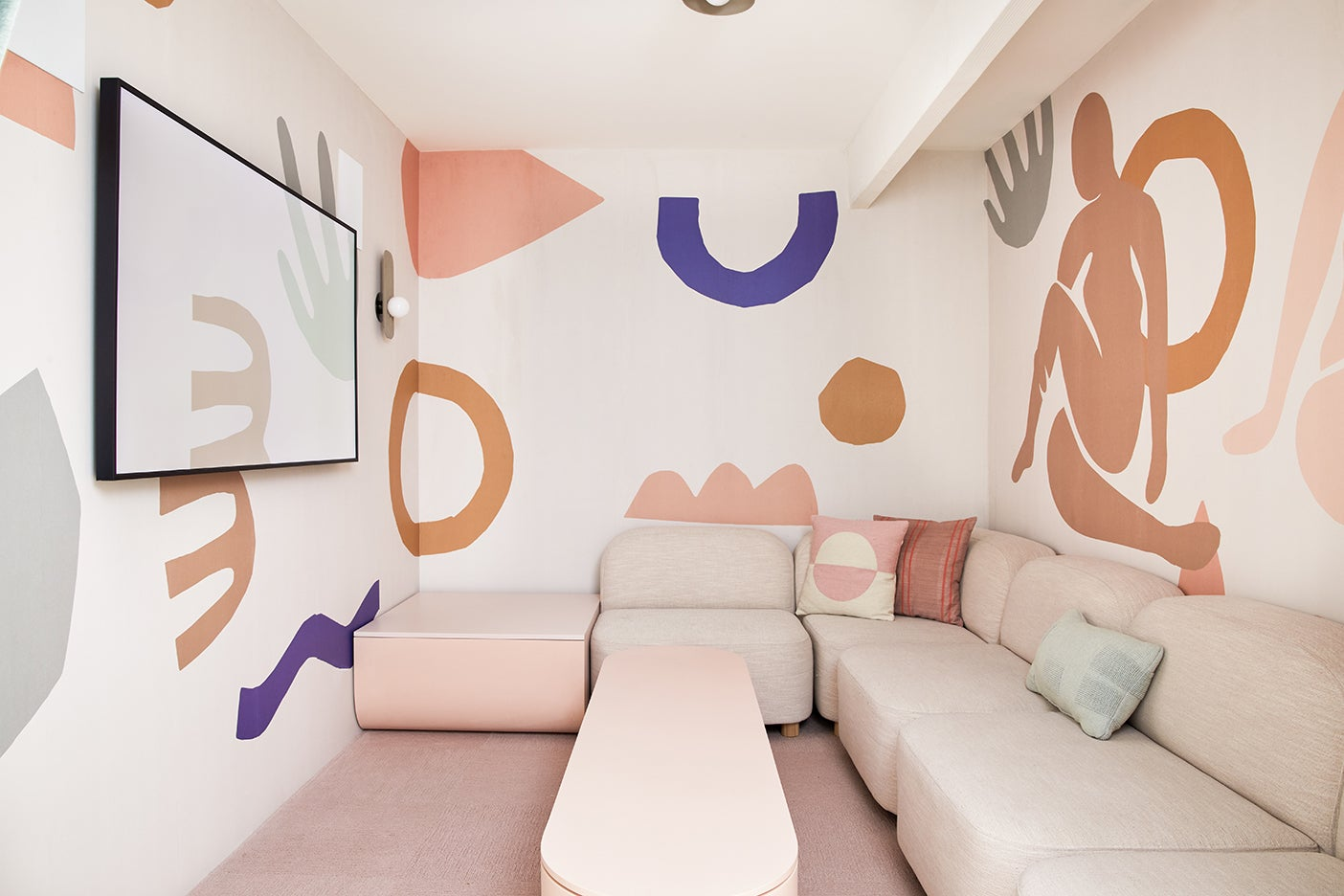 pink shapes on walls