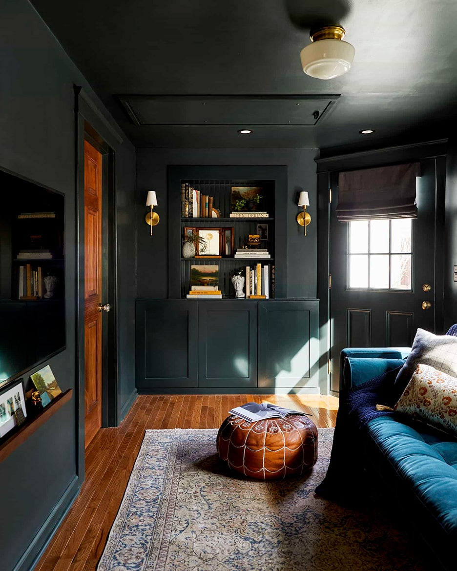 dark living room with light streaming in