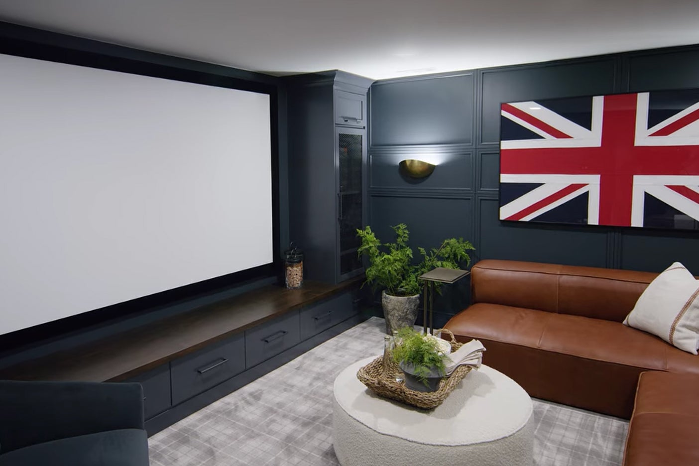 giant screen in basement theater