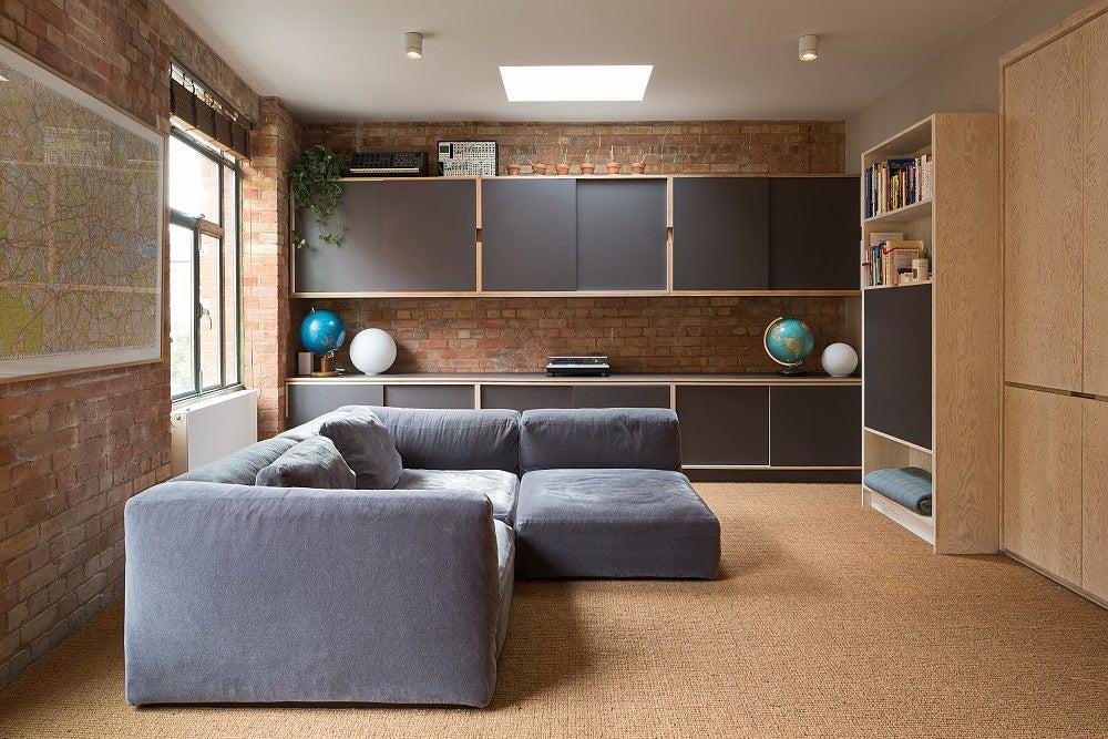tan colored TV room
