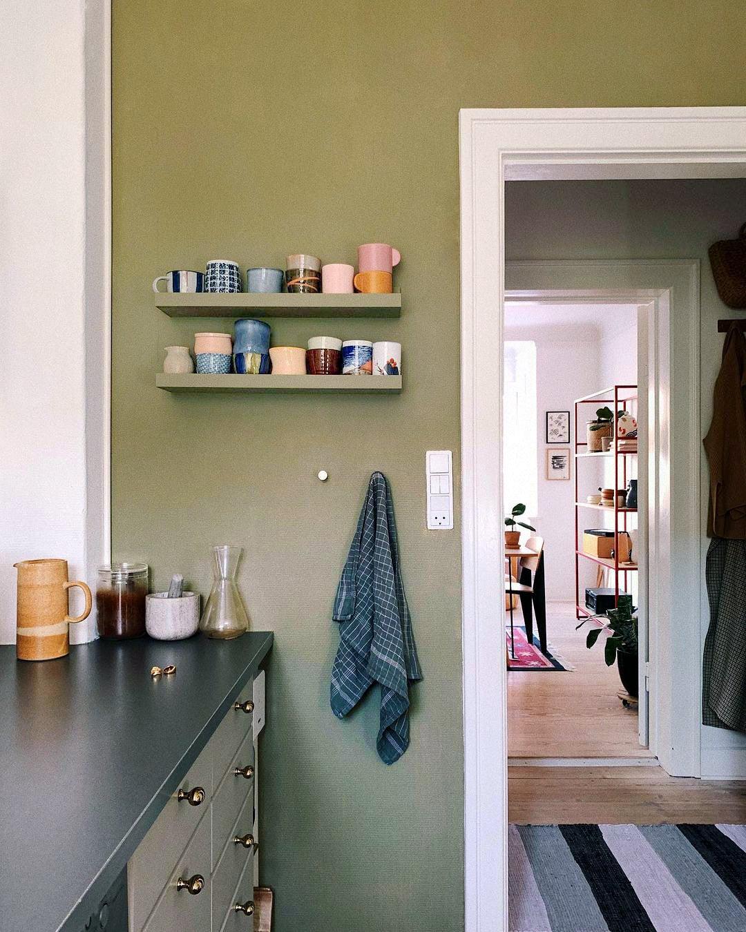 green kitchen wall