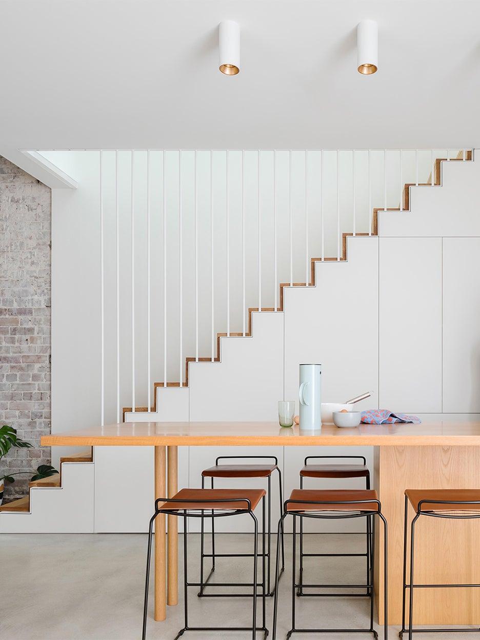 sleek white ktichen stairs