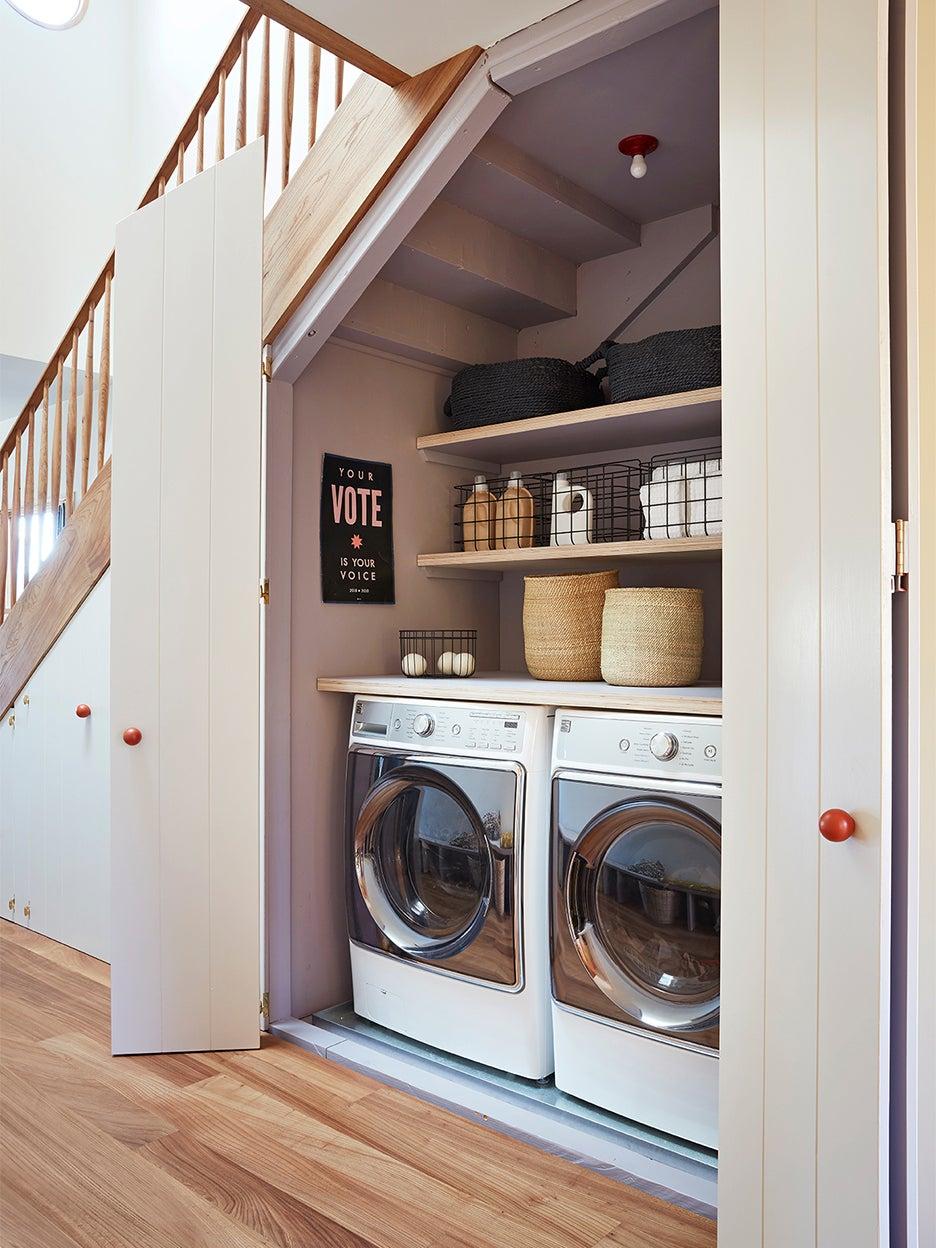 laundry machines in closet