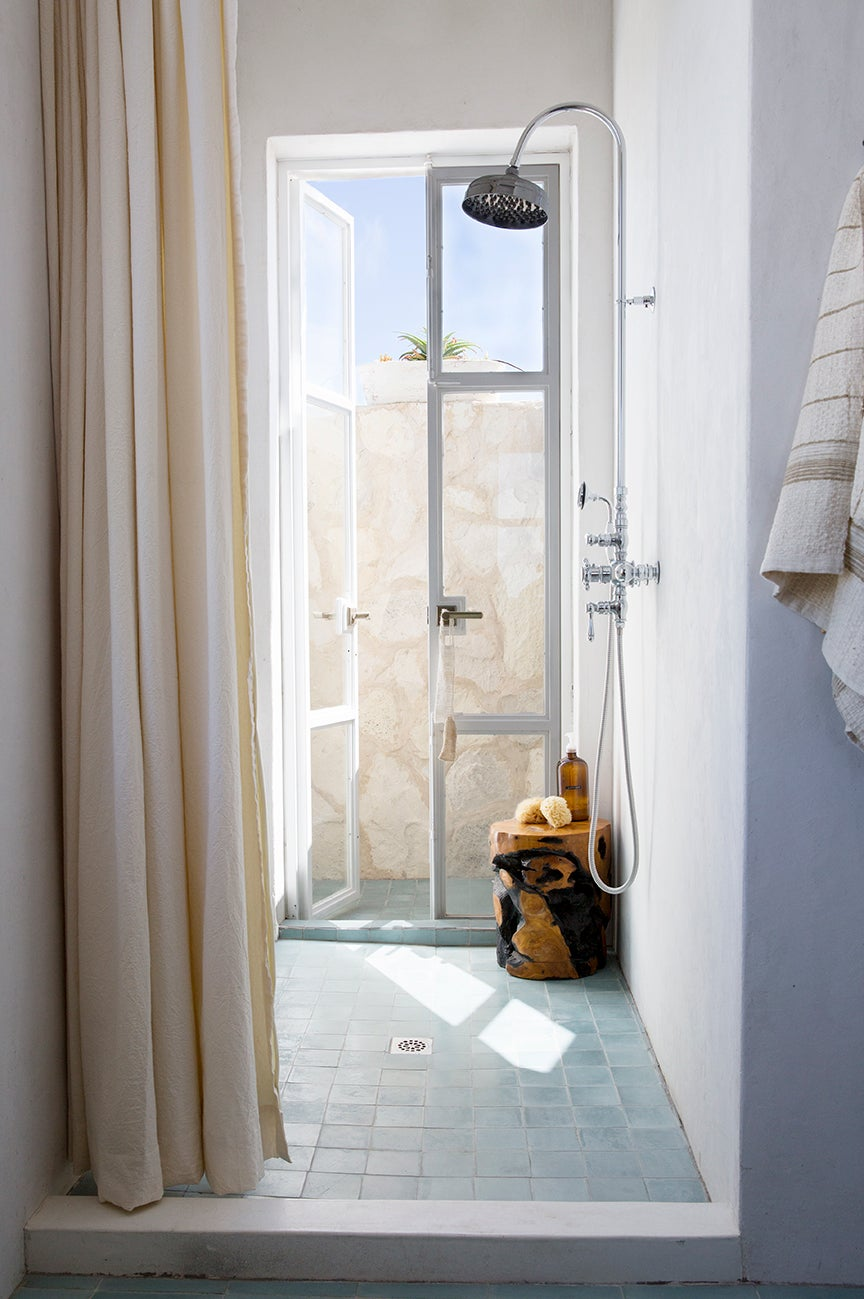 french doors in shower