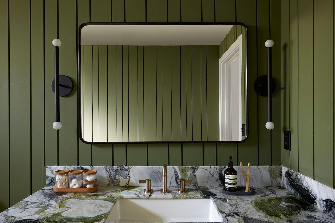 green bathroom wall paneling