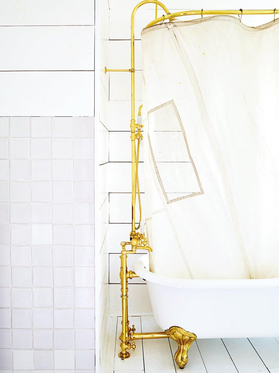 brass shower curtain rod