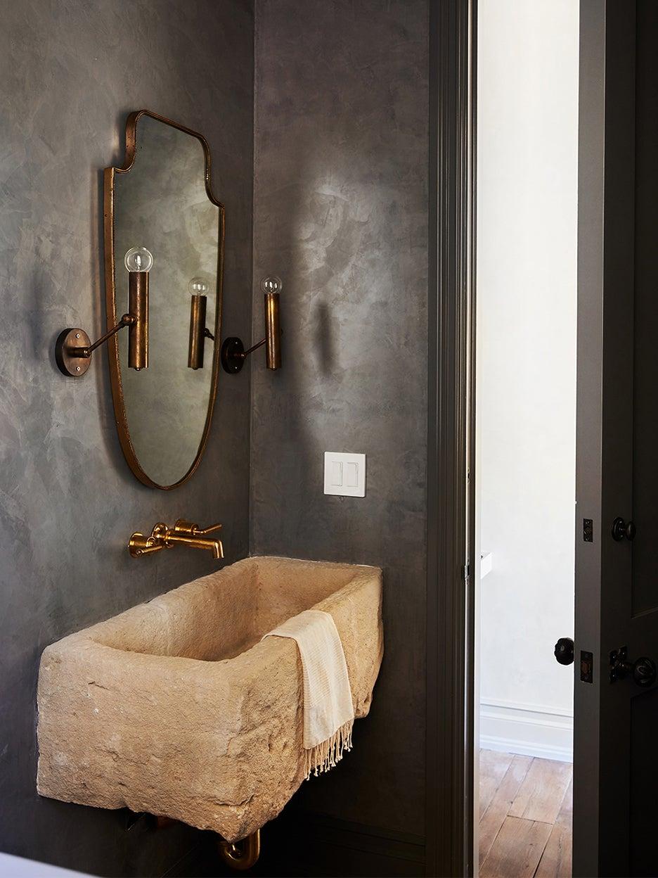 gothic bathroom with stone sink