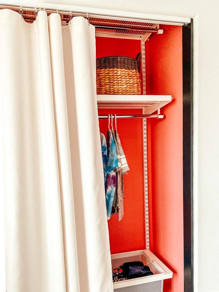 closet with curtain door