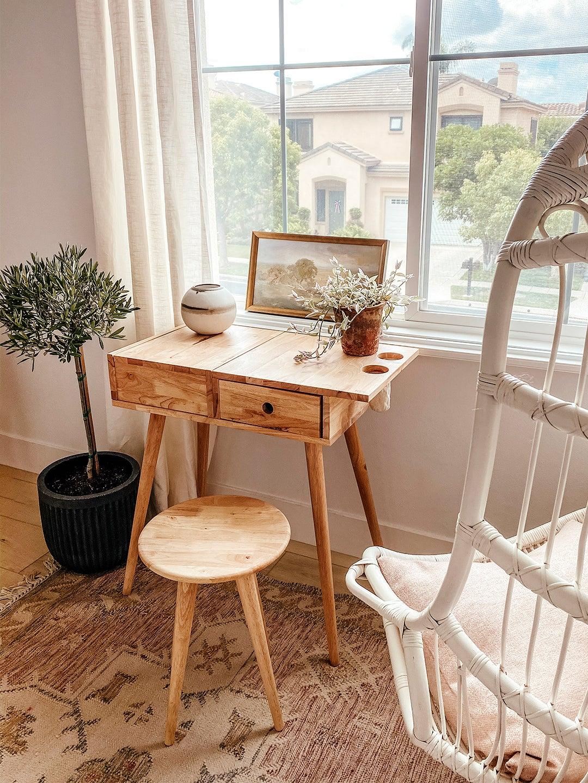 wood mid century desk