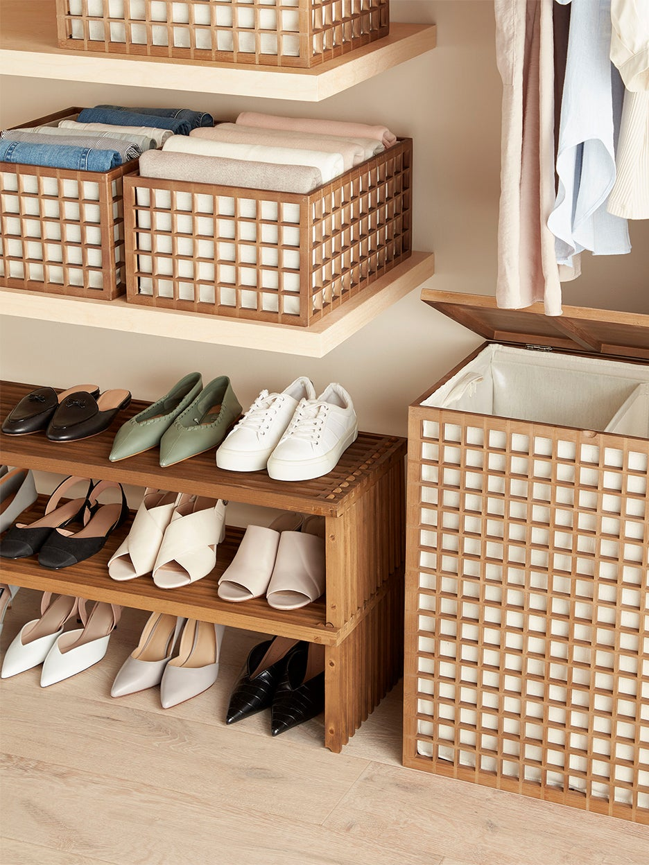 Closet with shoe rack and baskets by The Container Store x KonMari