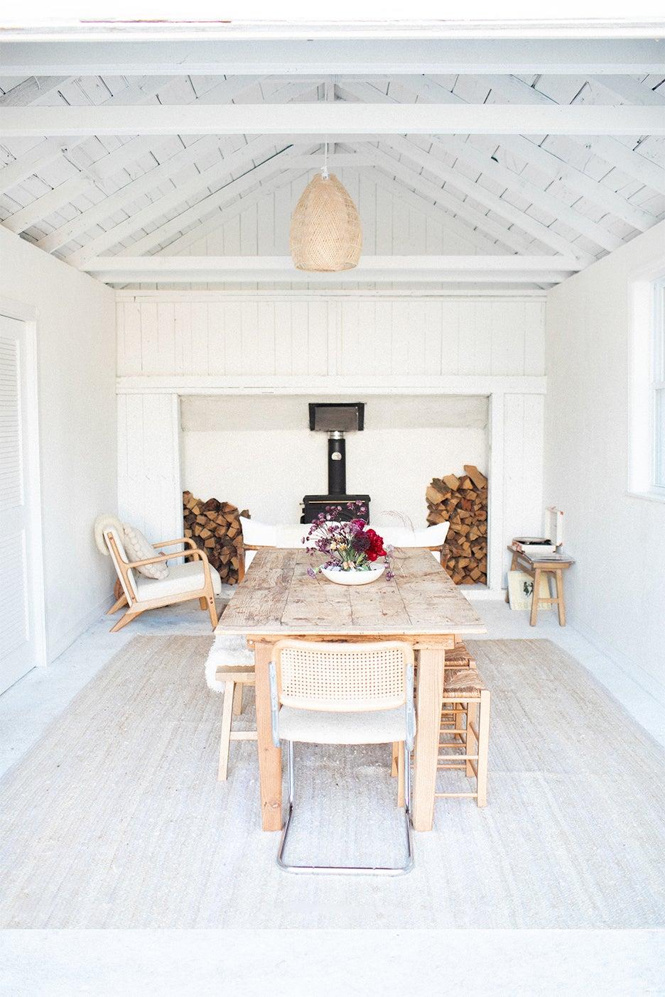 serene white dining area