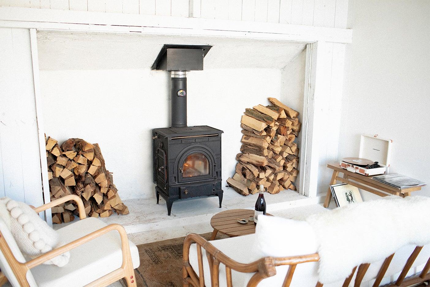 wood logs around firepalce