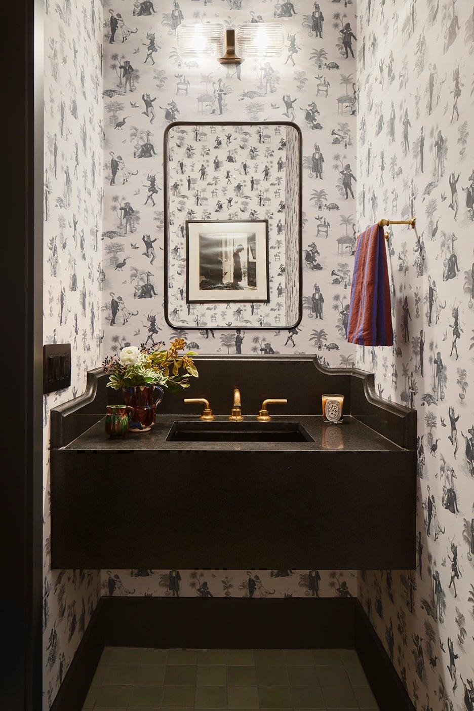 wallpapered powder room