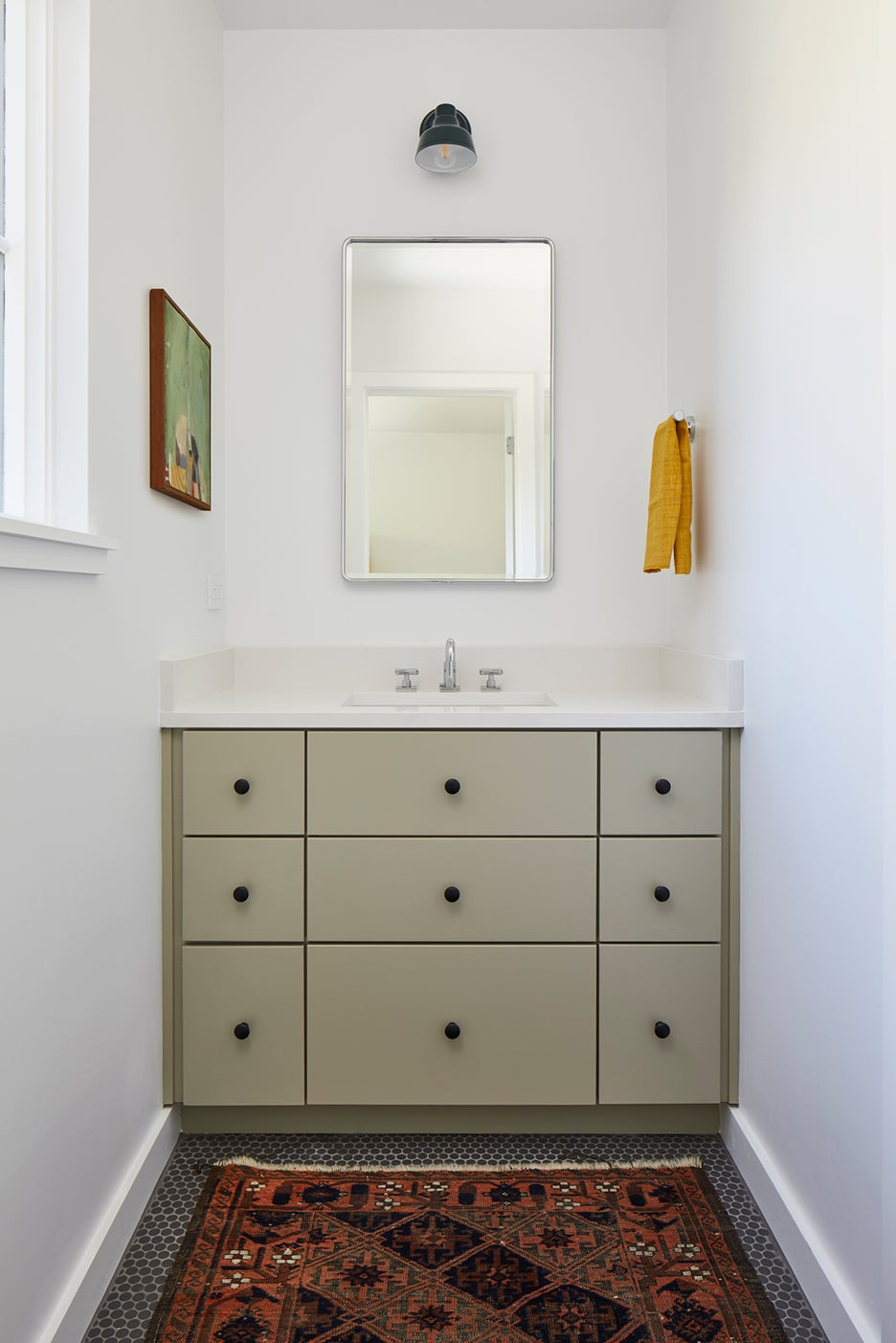 sage green built in cabinet