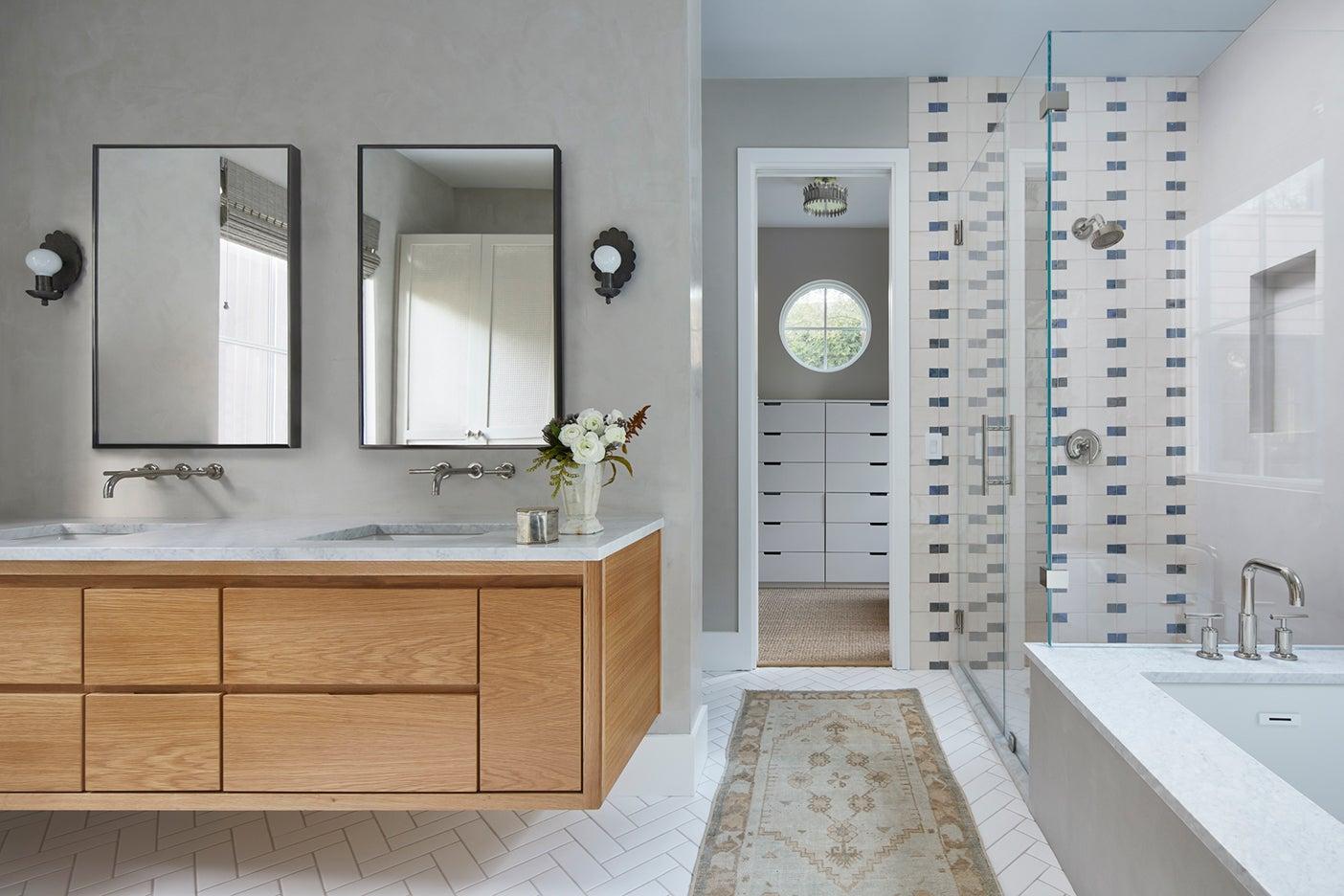 gray plaster bathroom