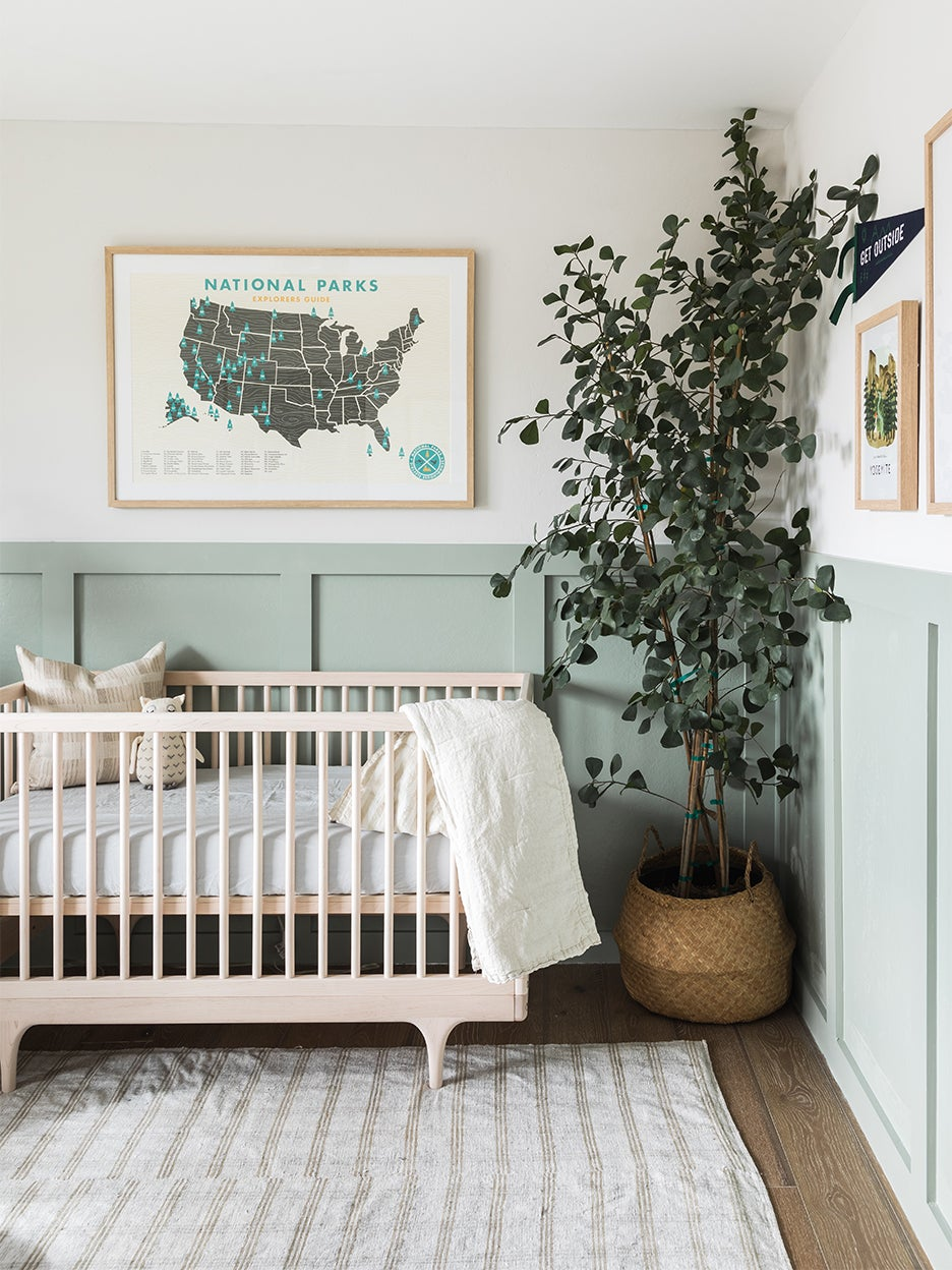 Sage green kids bedrooms - A nursery with sage green wall paint.