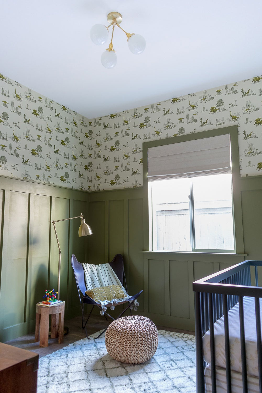 Sage green kids bedrooms - Nursery with sage wall paint and wallpaper