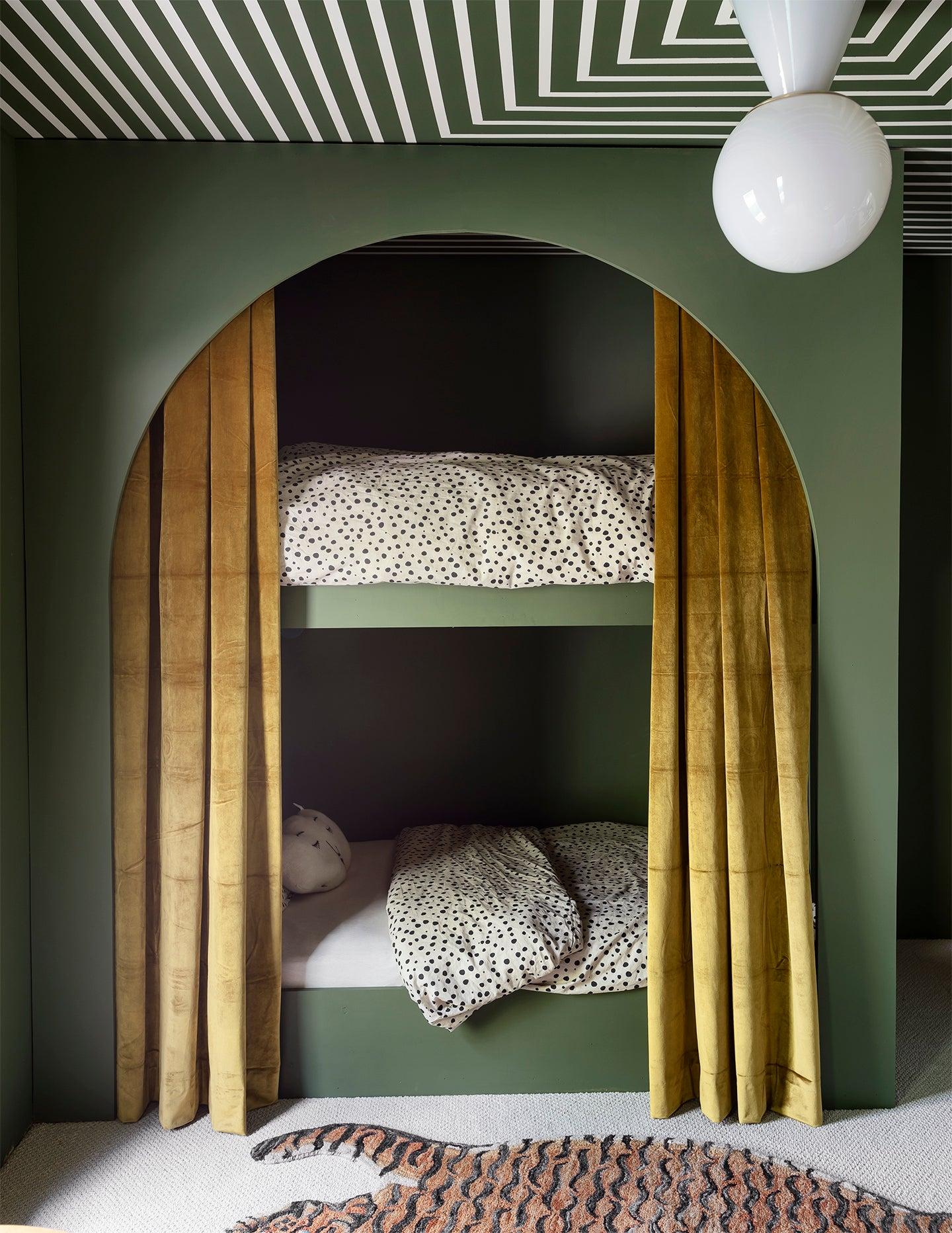 Sage green kids bedrooms - Sarah Sherman Samuel's arched kids bunk bed