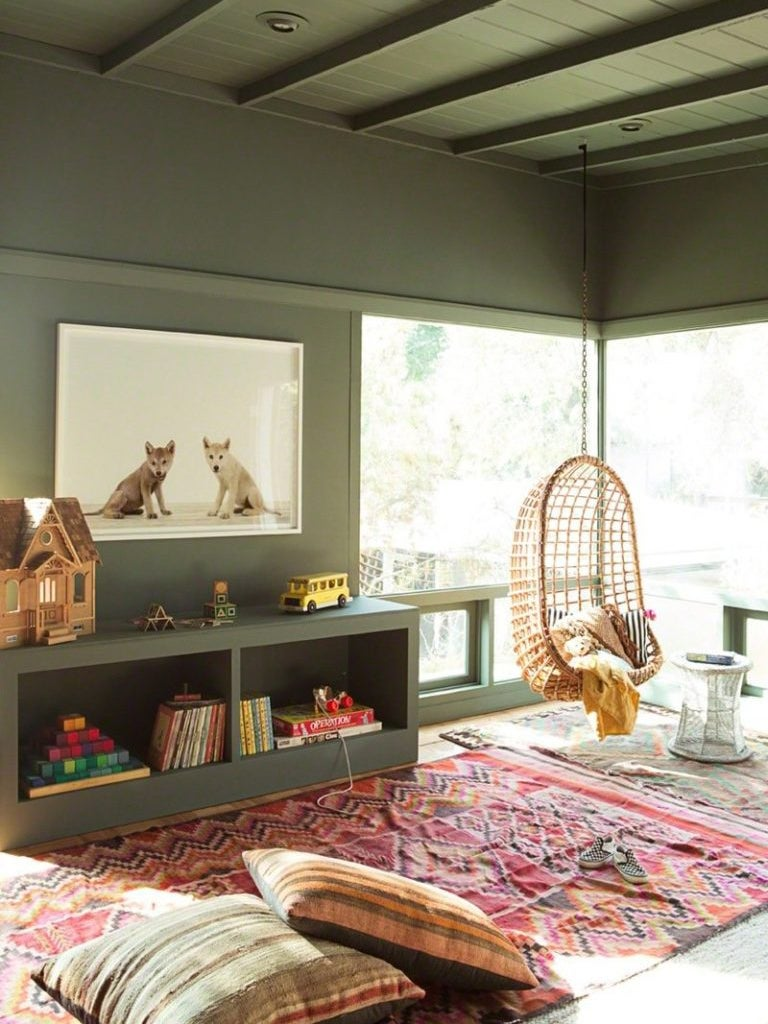 Sage green kids bedrooms - Room with hanging chair