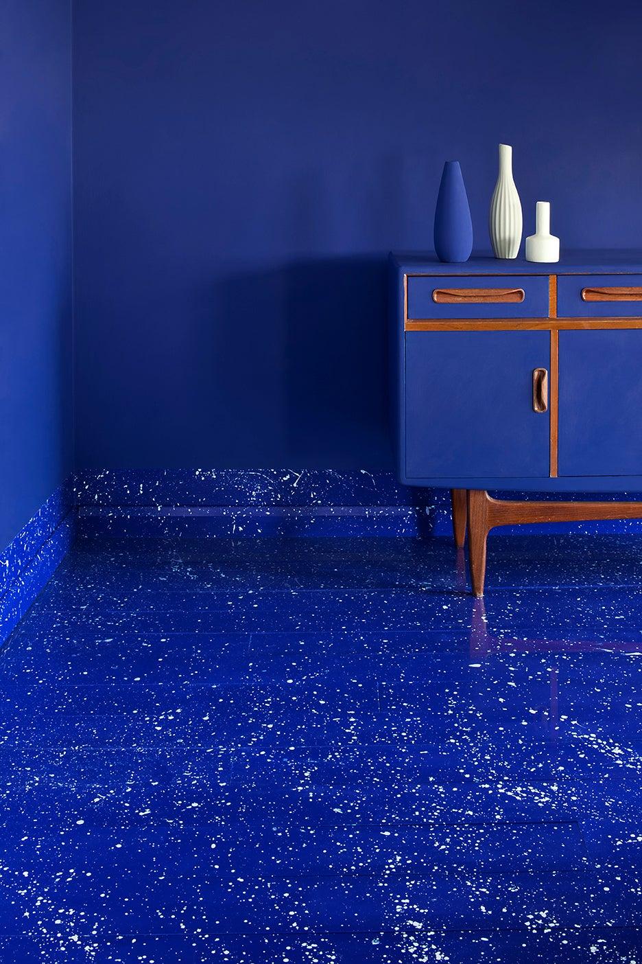electric blue bathroom floor