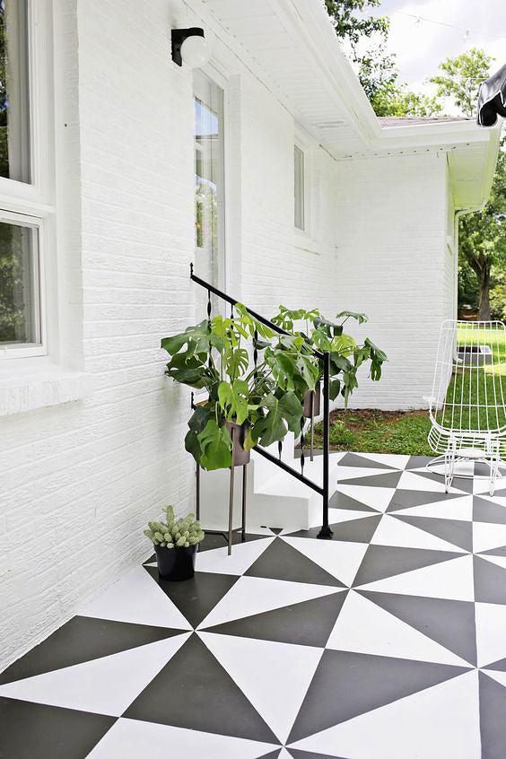 black and white patio floor