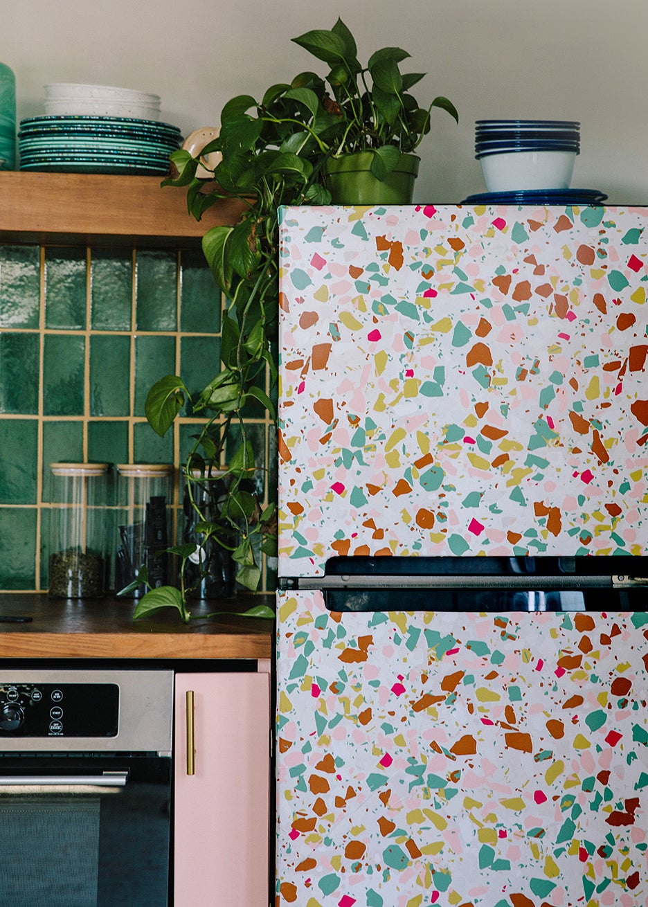 terrazzo patterned fridge