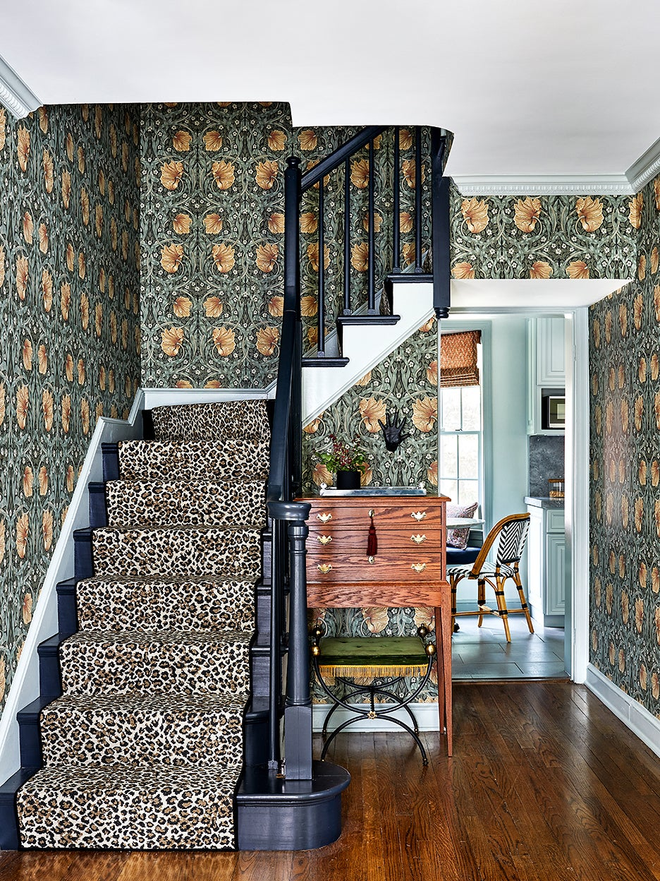 a leopard print staircase