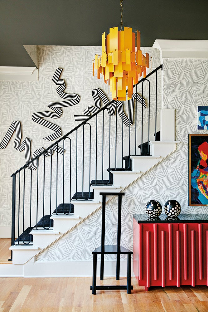 a bold-colored staircase