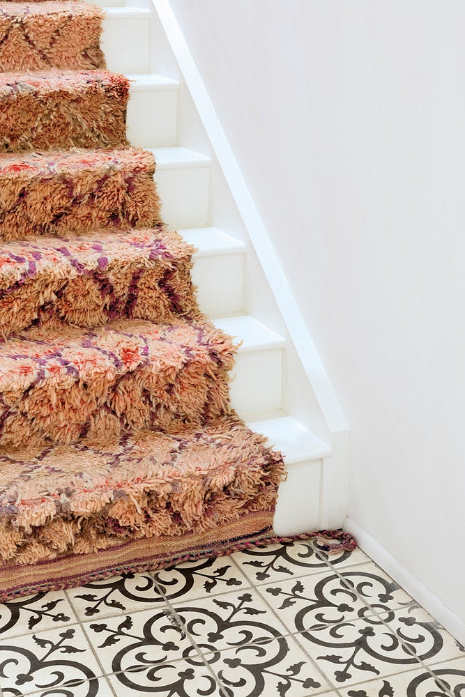 a shag carpet on stairs